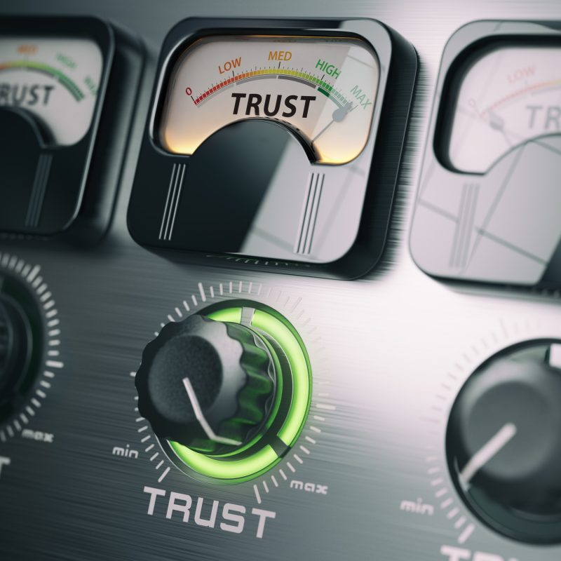 Trust concept. Trust switch knob on maximum position.